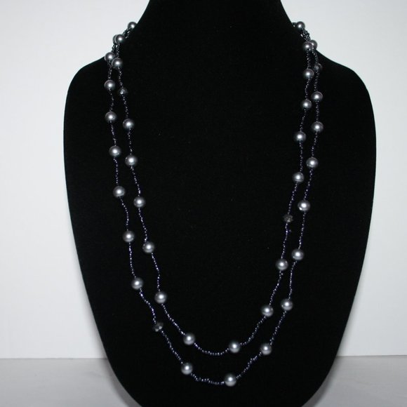 Beautiful gray pearl beaded necklace 56""